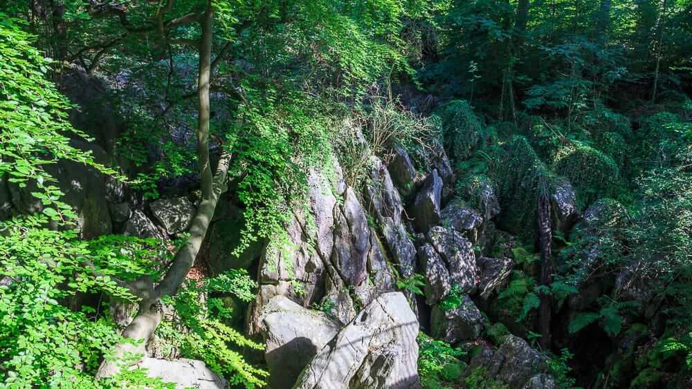 Blick auf die Klippen vom Steg im Felsenmeer Hemer