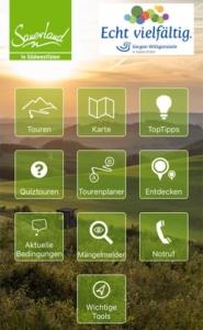 Alle Buttons der Sauerland App in der Übersicht