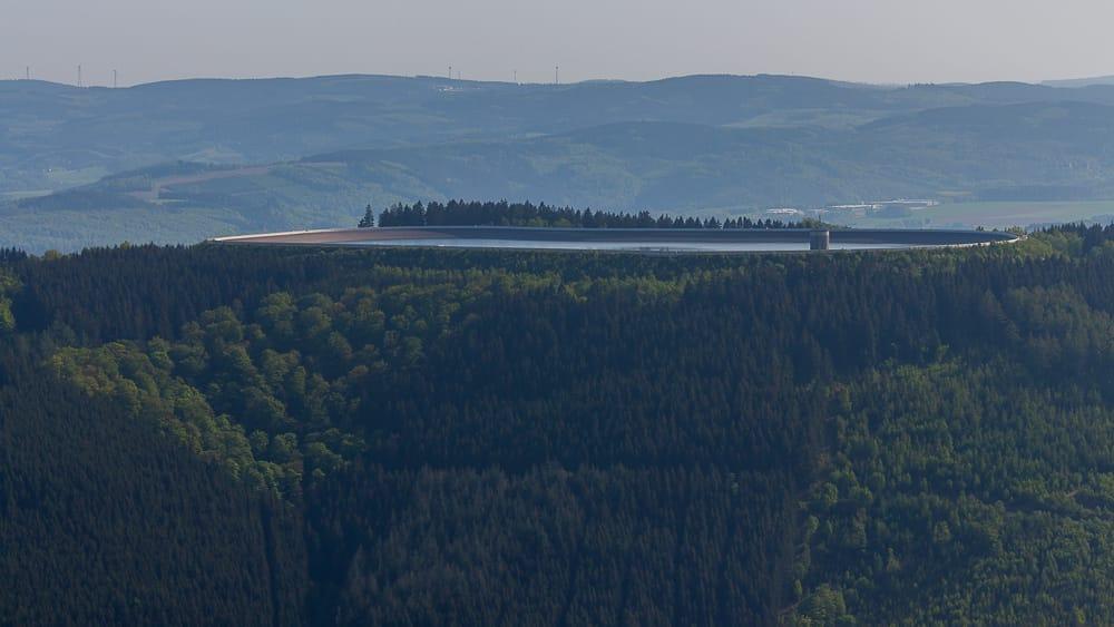 Blick auf das Oberbecken vom Pumpspeicherwerk Rönkhausen