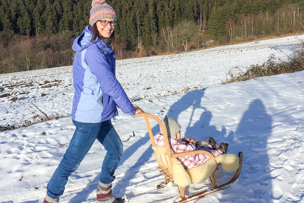 Schlittenfahrt im Sauerland Schnee